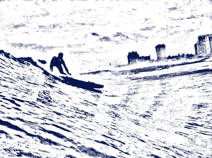 Raul surfeando cerca de El Muelle de Rosarito